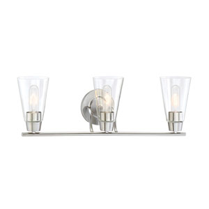 Echo Satin Platinum Three-Light Vanity
