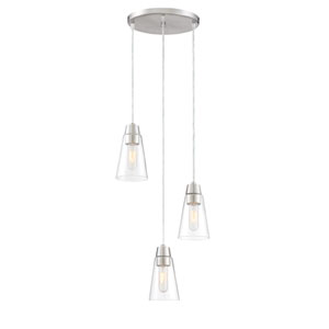 Echo Satin Platinum Three-Light Mini Pendant