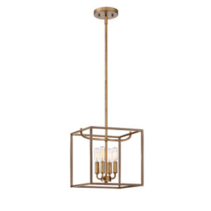 Uptown Old Satin Brass Four-Light Pendant