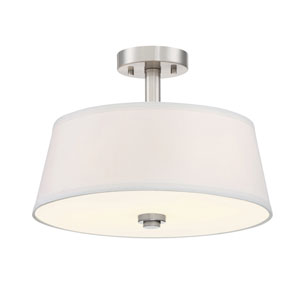 Studio Satin Platinum Two-Light Semi-Flush Mount