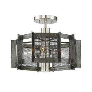 Baxter Weathered Iron Three-Light 16-Inch Semi-Flush Mount