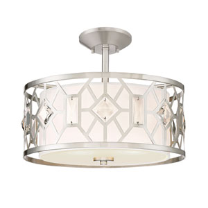 Brentwood Satin Platinum Two-Light Semi-Flush