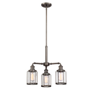 Anson Satin Copper Bronze Three-Light Chandelier