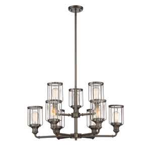 Anson Satin Copper Bronze Nine-Light Chandelier