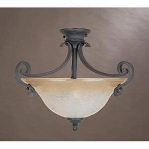 Barcelona Natural Iron Two-Light Semi Flush