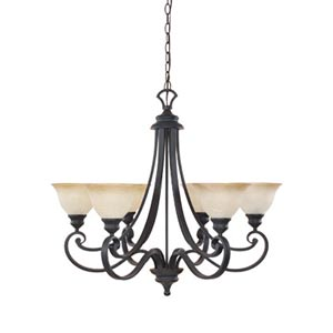Barcelona Natural Iron Six-Light Chandelier
