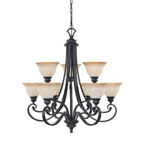 Barcelona Natural Iron Nine-Light Chandelier