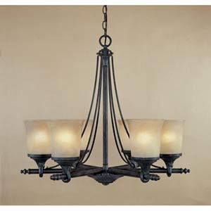 Austin Weathered Saddle Six-Light Chandelier