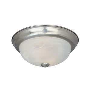 Lunar Satin Platinum Two-Light Energy Star Flush Mount with Alabaster Glass