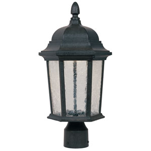 Abbington Driftwood One-Light LED Outdoor Post Lantern with Clear Crackle Glass
