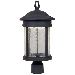 Prado Oil Rubbed Bronze One-Light LED Outdoor Post Lantern with Clear Crackle Glass