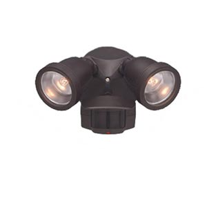 Motion Detector Distressed Bronze 180 Degree Two-Light Security Light