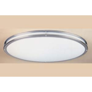 Satin Nickel Two-Light Fluorescent Flush Mount