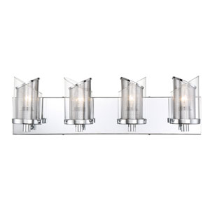 So Inclined Chrome Four-Light Bath Vanity