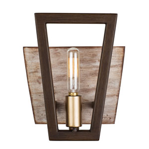 Zag Dark Oak and Whitewash One-Light Bath Sconce