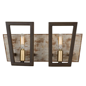 Zag Dark Oak and Whitewash Two-Light Bath Vanity
