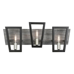 Zag Black and Gray Wood Three-Light ADA Bath Vanity