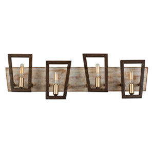 Zag Dark Oak and Whitewash Four-Light Bath Vanity