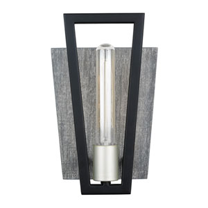 Zag Black and Gray Wood One-Light ADA Wall Sconce