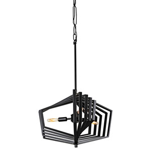 Gymnast Black 20-Inch Three-Light Pendant