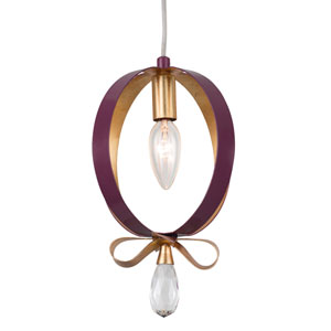 Posh Plum and Gold Leaf Seven-Inch One-Light Mini Pendant