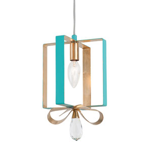 Posh Aqua and Gold Leaf Seven-Inch One-Light Mini Pendant