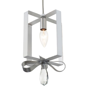 Posh Pearl and Silver Leaf Seven-Inch One-Light Mini Pendant
