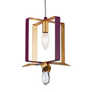 Posh Plum and Gold Leaf Seven-Inch One-Light Mini Pendant