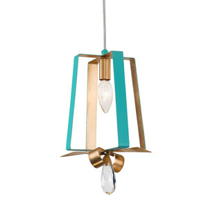 Posh Aqua and Gold Leaf Seven-Inch One-Light Tall Mini Pendant