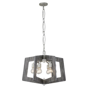 Lofty Silverado and Gray Wood Six-Light Chandelier