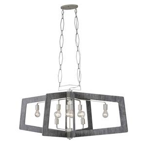 Lofty Silverado and Gray Eight-Light Linear Pendant