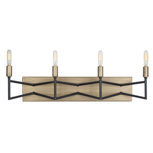 Bodie Havana Gold and Carbon Four-Light Bath Vanity