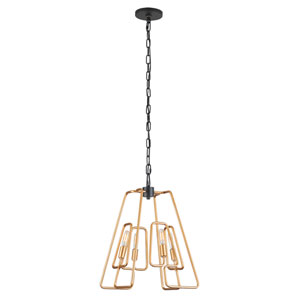 Triangulo Aged Gold and Carbon Four-Light Pendant