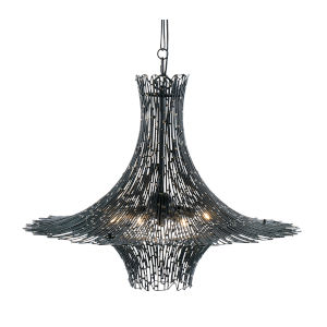 Rikki Carbon And Aged Gold Six-Light Chandelier