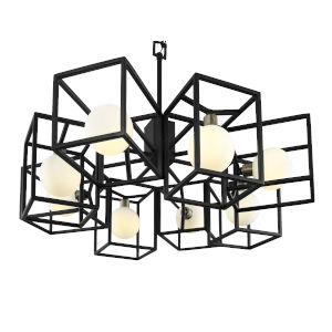 Plaza Carbon And Havana Gold Eight-Light LED ADA Pendant