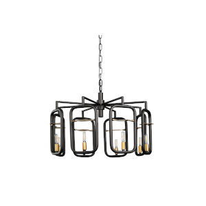 Bar None Aged Gold And Rustic Bronze Eight-Light Chandelier