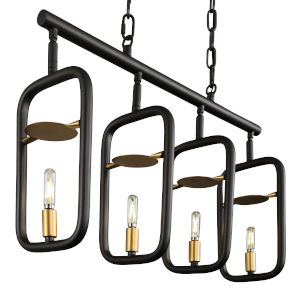 Bar None Aged Gold And Rustic Bronze 26-Inch Four-Light Pendant