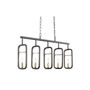 Bar None Aged Gold And Rustic Bronze Five-Light Pendant