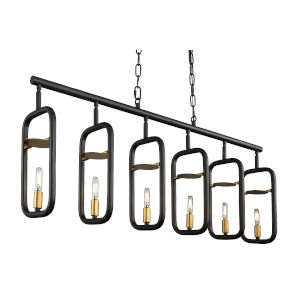 Bar None Aged Gold And Rustic Bronze 42-Inch Six-Light Pendant