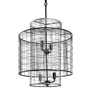 Vivienne Black and Gray 17-Inch Four-Light Pendant