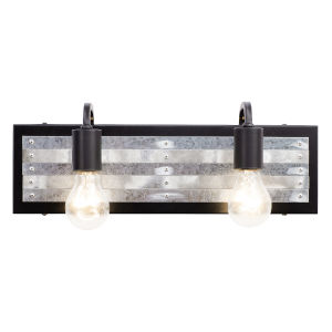 Abbey Rose Black and Galvanized Two-Light Bath Vanity