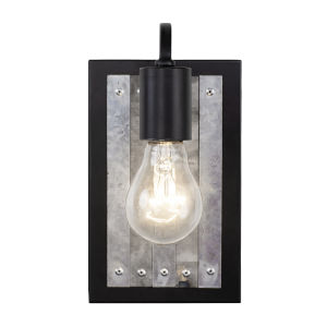 Abbey Rose Black and Galvanized One-Light Sconce