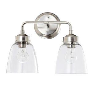 Helena Satin Nickel Two-Light Bath Vanity