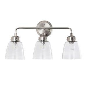 Helena Satin Nickel Three-Light Bath Vanity