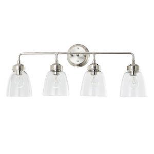 Helena Satin Nickel Four-Light Bath Vanity