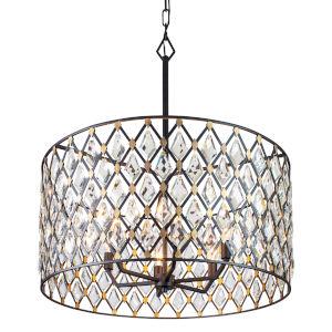 Windsor Carbon and Havana Gold Six-Light Pendant