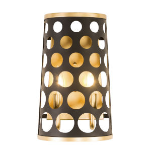 Bailey Matte Black French Gold Two-Light Wall Sconce