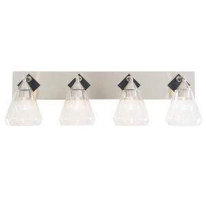 Prestige Brushed Nickel Matte Black Four-Light Bath Vanity