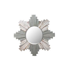 Casa Gray and Whitewash Sunburst 36-Inch Framed Wood Mirror