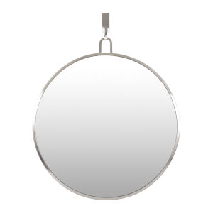 Stopwatch Brushed Nickel Round Accent Mirror